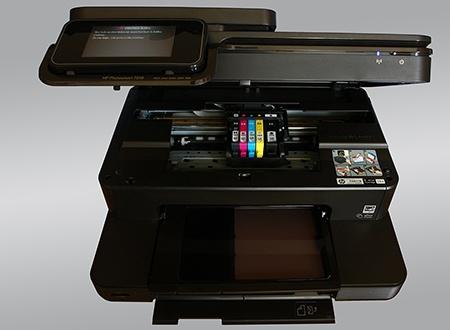otevřené víko – inkoustové kazety