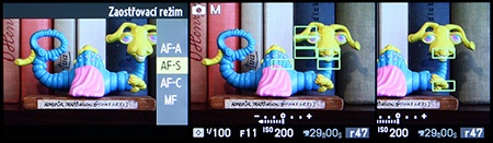 LCD - režimy ostření