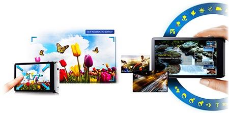Samsung GALAXY Camera - některé možnosti obrazovky
