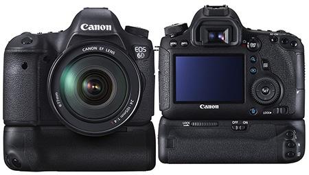 Canon EOS 6D s bateriovým vícefunkčním madlem - zepředu a zezadu