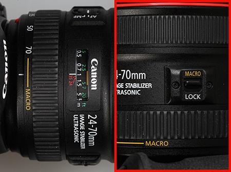 Canon EF 24–70 mm 1:4L IS USM - přepínač na makro a značení makrooblasti