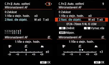 Canon EF 4/24–70L IS USM - mikronastavení AF